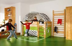 Cute soccer room. I so hope I'm a soccer mom one day.