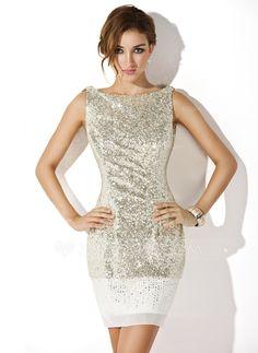 Sheath/Column Scoop Neck Short/Mini Chiffon Sequined Cocktail Dress (016008346) - JJsHouse