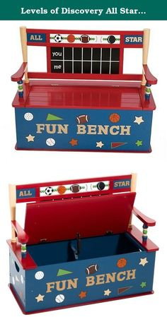 Levels of Discovery All Star Sports Toy Box Bench. Spinning balls (soccer, basketball, football and baseball) and hockey puck along top of seat back Fun seat back design with ball bats and real chalkboard scoreboard Slow-closing metal safety hinge.