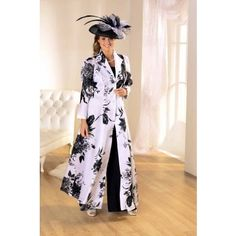 Florentyna Dawn White and Black Garden Print Theatre Coat Teamed with Black Top and Trousers