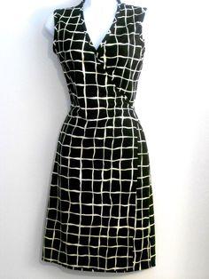 NINETY Wrap DRESS Criss Cross Bodice Black & White Crosshatch Size 6-8P VGC #Ninety #WrapDress #Casual