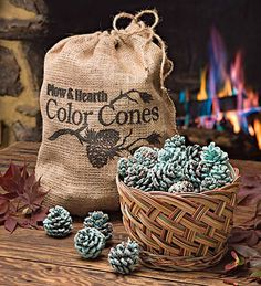 Make your own color-changing fireplaces pinecones: table salt = yellow, borax = yellow-green, epsom salt = white, boric acid = green, strontium chloride = red
