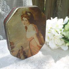 Antique Tin Mackintosh's Box W/ beautiful Lady & Dog England  Victorian Edwardian box biscuit candy canister vanity storage Romantic by WonderCabinetArts