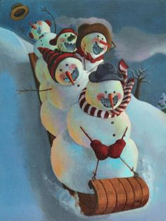 Snowmen at Night Mark Beuhner Christmas Snowman, Winter Christmas, Christmas Time, Vintage Christmas, Christmas Crafts, Christmas Decorations, Christmas Ornaments, Xmas, Snowmen At Night