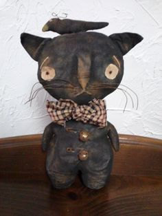 Primitive Folk Art Standing Cat Doll and Crow by primitivewishfuls on Etsy