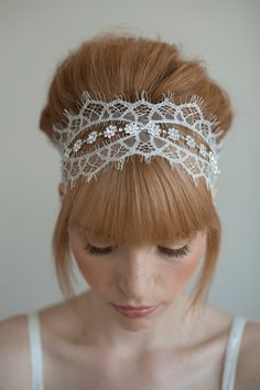 Items similar to Wedding headband, bridal hair piece, lace, crystals - Chantilly and rhinestone self tie headband - Style 016 - Made to Order on Etsy Wedding Headband, Tie Headband, Headband Styles, Lace Headbands, Headband Hairstyles, Rhinestone Headband, Hair Wedding, Bun Hairstyle, Wedding Lace