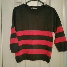 Gap striped sweater (198) Gap striped 3/4 length sleeve sweater cute button detail on left shoulder GAP Sweaters Crew & Scoop Necks