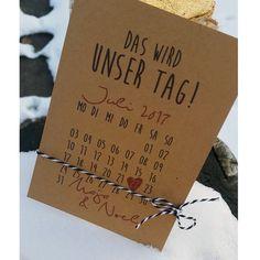 Save the Date oder Hochzeitseinladung auf Kraftpapier mit