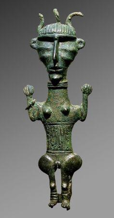 Bronze statue of a female, probably Luristan,  ca 700-600 BCE. Iran