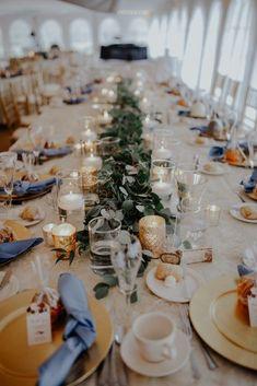 Head table. Captains table. Greenery. Eucalyptus. Gold. Dusty blue. Sparkles. Blue Gold Wedding, Gold Wedding Theme, Tent Wedding, Wedding Table, Floral Wedding, Wedding Blog, Rustic Wedding, Wedding Reception, Wedding Ideas