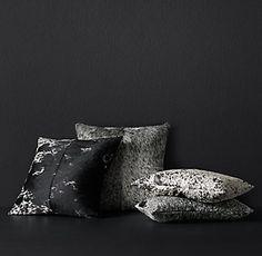 RH Modern Dappled Cowhide Pillow Cover - 22 x 22 Reg 199.00, clearance 95.00, 13 x 21 Reg 149.00, clearance 71.00. Premium down-alternative inserts 15.00 and 12.00.