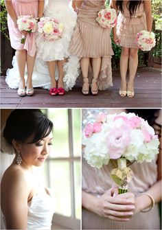 pink bridesmaid dresses/ love the bouquets!