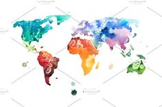 watercolor world map by undrey on @creativemarket