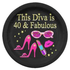 40 YEARS OLD AND A FABULOUS DIVA PAPER PLATE Enjoy our fabulous selection of 40th birthday gifts. Only at Zazzle! http://www.zazzle.com/jlpbirthday/gifts?cg=196901469086304704&rf=238246180177746410  #40thbirthday #40yearsold #Happy40thbirthday #40thbirthdaygift #40thbirthdayidea #happy40th #40thbirthday