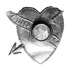 Heart pierced by arrow and textscroll in front, in centre round frame for small mirror
