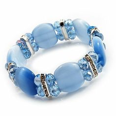 Light Blue Cat Eye Glass Bead Flex Bracelet -18cm Length Avalaya. $19.80. Type: stretchy. Material: glass. Metal Finish: silver plated. Occasion: anniversary, casual wear, cocktail party, office wear. Wear On: wrist