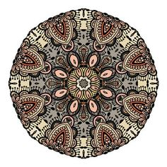 tatouage mandala: Ornament color card with mandala. Vintage decorative elements.  background.  Indian floral ornament. Ethnic Mandala. Henna tattoo style. Illustration