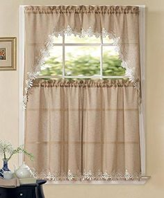 GoodGram Orchard Luxurious Matte Sheer Macrame Kitchen Curtain Tier Swag Set by Assorted Colors Swag Curtains, Tier Curtains, Window Curtains, Vintage Kitchen Curtains, Kitchen Curtain Sets, Fall Kitchen Decor, Autumn Lights, Colorful Curtains, Kitchen Pictures