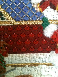 Overview Heel Body of sleigh stitch Santa Elf is loading those presents This is a. Needlepoint Designs, Needlepoint Stitches, Needlework, Craft Projects, Projects To Try, Craft Ideas, Needlepoint Christmas Stockings, Blackwork, Hand Embroidery
