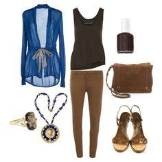 Blue Cardigan w/ Brown Pants