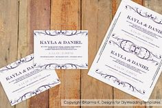 Wedding Invitation Template - DOWNLOAD INSTANTLY - Divine (Eggplant) 5 x 7 - Microsoft Word Format