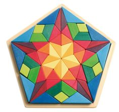 Houten blokkenset ster mozaiek