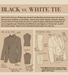 black vs white tie