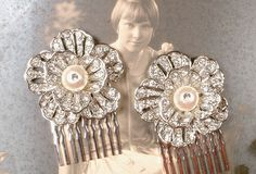 PAIR Pearl & Pave Rhinestone Art Deco 1920s Bridal Hair Combs, Small Silver Flower Hair Accessory GATSBY Wedding Prom Vintage Inspired Clips by AmoreTreasure