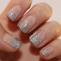 Clear with Silver Glitter Nails