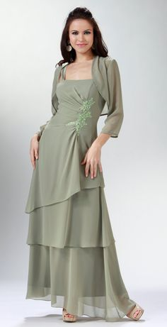 Sage color dresses with jackets