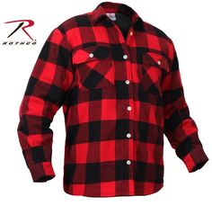 Mens Fleece-Lined Plaid Flannel Shirt - Rothco Red & Black Cotton Lumberjack Top