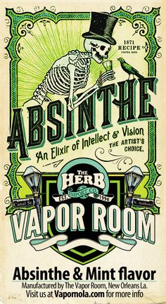 Absinthe: This juice puts you in a fin de siècle sort of mind. Mingle with the artists of your dreams–vape on our delightful, herbal absinthe blended with a clean, silvery mint.