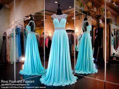 Turquoise-Open back-Chiffon Prom Dress