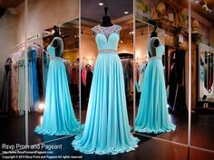 Turquoise-Open back-Chiffon Prom Dress