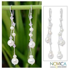Sasina designs pearl earrings of mystical beauty. Tied by hand on silken strands, faceted beads complement the earrings.