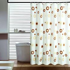 Classic Coffee Circle Pattern Bathroom Fabric Shower Curtain -- BuyinCoins.com