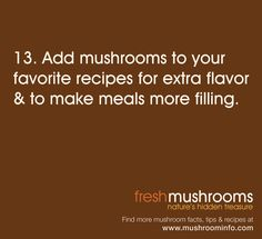 Add #mushrooms to a variety of meals! It's Day 13 of National Mushroom Month! #WFD2012 #IAmVegetable