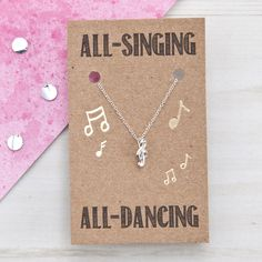 All-Singing All-Dancing Silver Music Necklace #ellieellie #musicnecklace #giftsforher