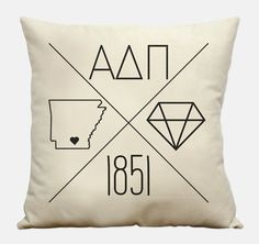 Custom Alpha Delta Pi Icons Cotton Canvas Sorority Pillow With an Insert on Etsy, $20.00