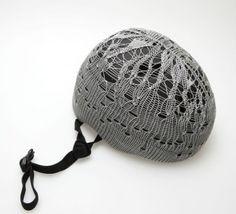 Pretty crocheted bike helmet cover.