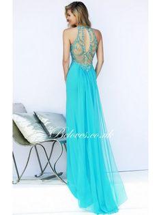 Aqua Sherri Hill 32043 Beaded Back Prom DressOutlet