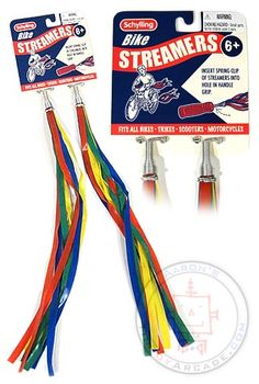 Bike Handle Streamers ~ had these on my banana bike! (along with the cards in the wheel spokes!)