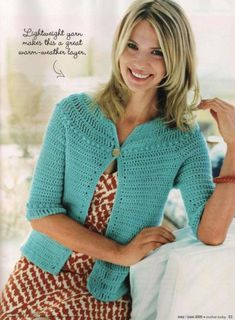 Top down cardigan with pattern