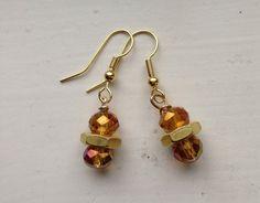 Custom Brass Hex Nut & Amber Faceted Glass by goldenhandscreations, $14.00