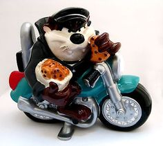 Cookie Jar Taz on Motorcycle 1998 Warner Bros. Ceramic.