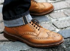 Loake Chester brogue derby shoe. Part of Loake's 1880 Premium Collection. Pictured is tan calf, also available in brown grain leather. Hand crafted in England.
