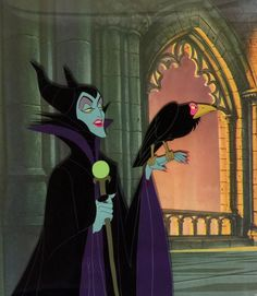 """Animation Collection: Original Production Cel of Maleficent and Diablo from """"Sleeping Beauty,"""" 1959"""