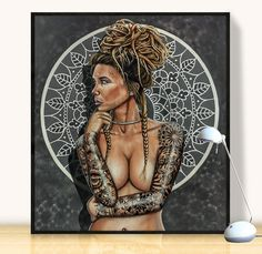 Tattooed Nude Female Acrylic Canvas Painting | Laural Retz | Original Art