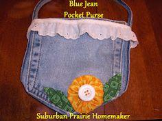Suburban Prairie Homemaker: One Yard Wednesday - Denim Pocket Purse