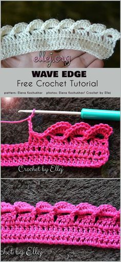 Wave Edge Free Crochet Pattern Edges are a sometimes overlooked aspect of crocheting projects. What's the point of crocheting a beautiful central motif for the project, and doing the edge Crochet Border Patterns, Crochet Boarders, Crochet Blanket Edging, Crochet Designs, Stitch Patterns, Crochet Edges For Blankets, Crochet Wave Pattern, Scarf Crochet, Crochet Amigurumi